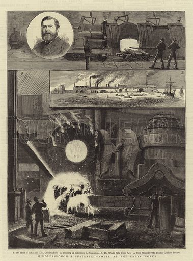 Middlesbrough Illustrated, Notes at the Eston Works. Illustration for The Graphic, 8 October 1881.