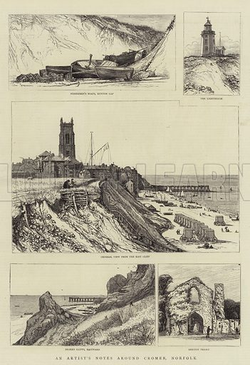 An Artist's Notes around Cromer, Norfolk. Illustration for The Graphic, 15 October 1881.