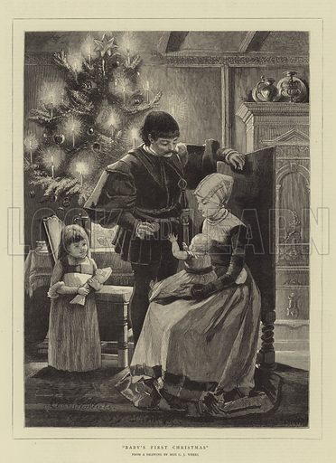 Baby's First Christmas. Illustration for The Graphic, 24 December 1881.