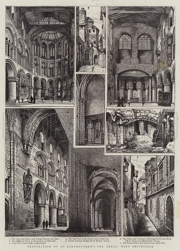 Restoration of St Bartholomew's the Great, West Smithfield. Illustration for The Graphic, 10 July 1886.