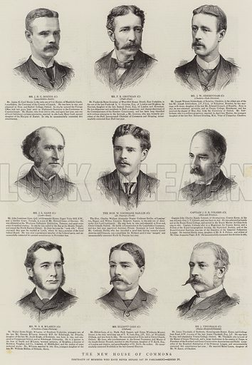 The New House of Commons, Portraits of Members who have never before sat in Parliament, Series IV. Illustration for The Graphic, 21 August 1886.