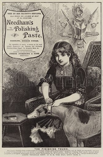 Advertisement, Needham's Polishing Paste. Illustration for The Graphic, 28 August 1886.