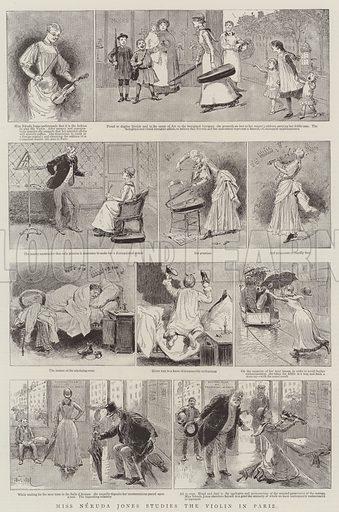 Miss Neruda Jones Studies the Violin in Paris. Illustration for The Graphic, 30 October 1886.