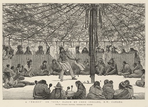 """A""""Thirst"""" or """"Sun"""", Dance by Cree Indians, North West Canada, Young Indians proving themselves Braves. Illustration for The Graphic, 20 November 1886."""