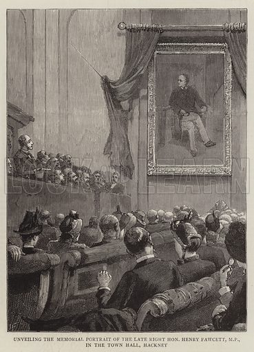 Unveiling the Memorial Portrait of the Late Right Honourable Henry Fawcett, MP, in the Town Hall, Hackney. Illustration for The Graphic, 11 December 1886.