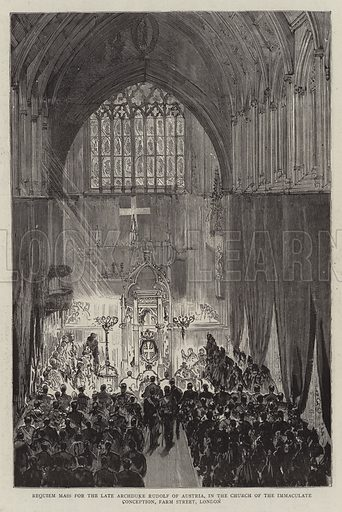 Requiem Mass for the Late Archduke Rudolf of Austria, in the Church of the Immaculate Conception, Farm Street, London. Illustration for The Graphic, 9 February 1889.