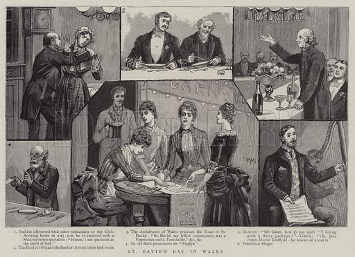 St David's Day in Wales. Illustration for The Graphic, 18 May 1889.