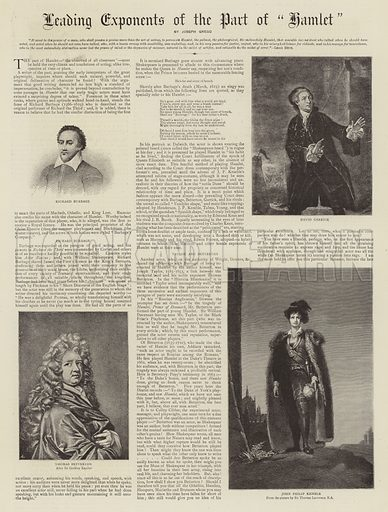 Leading Exponents of the Part of Hamlet. Illustration for The Graphic, 6 February 1892.