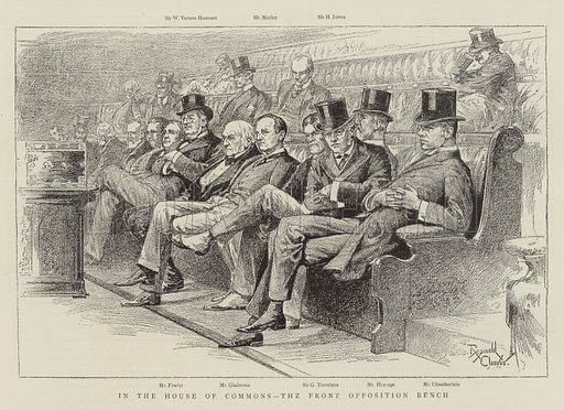 In the House of Commons, the Front Opposition Bench. Illustration for The Graphic, 19 March 1892.