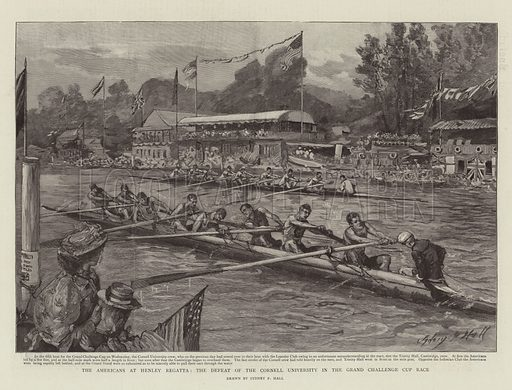 The Americans at Henley Regatta, the Defeat of the Cornell University in the Grand Challenge Cup Race. Illustration for The Graphic, 20 July 1895.
