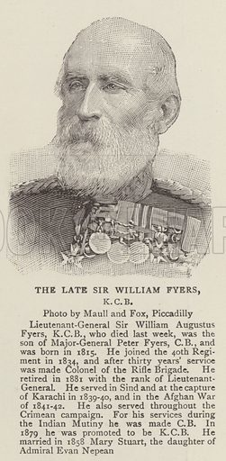The Late Sir William Fyers, KCB. Illustration for The Graphic, 23 November 1895.