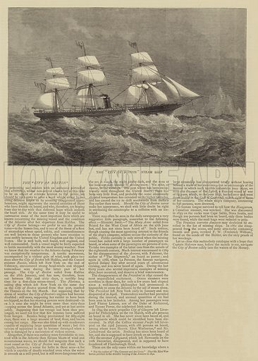 """The """"""""City of Boston"""""""" Steam Ship. Illustration for The Graphic, 26 March 1870."""