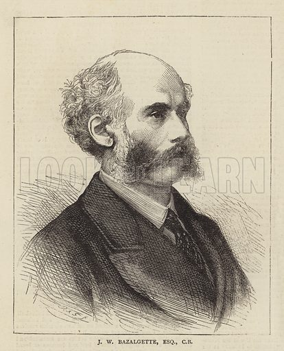 J W Bazalgette, Esquire, CB. Illustration for The Graphic, 9 September 1871.
