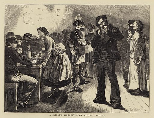 A Sailor's Assembly Room at the East-end. Illustration for The Graphic, 1871.