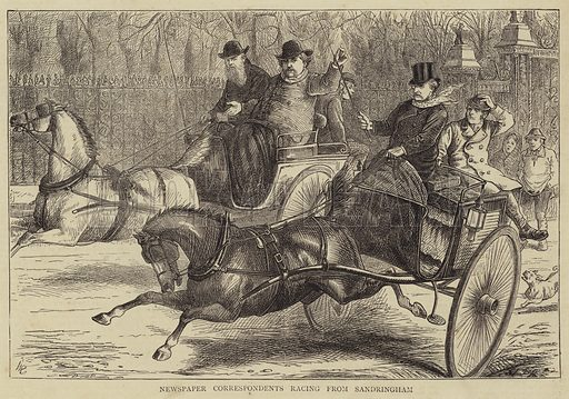Newspaper Correspondents racing from Sandringham. Illustration for The Graphic, 6 January 1872.