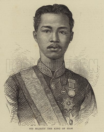 His Majesty the King of Siam. Illustration for The Graphic, 10 February 1872.