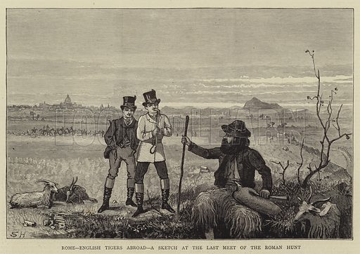 Rome, English Tigers Abroad, a Sketch at the Last Meet of the Roman Hunt. Illustration for The Graphic, 29 June 1872.