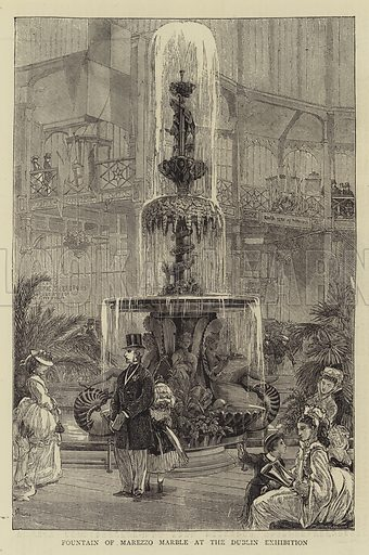 Fountain of Marezzo Marble at the Dublin Exhibition. Illustration for The Graphic, 20 July 1872.