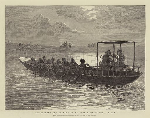 Livingstone and Stanley going from Ujiji to Rusizi River. Illustration for The Graphic, 1872.