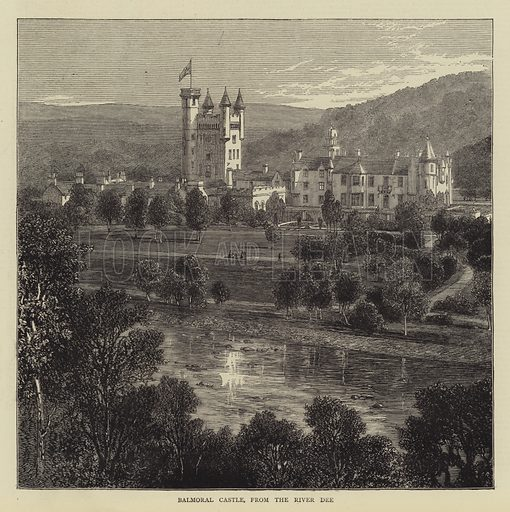 Balmoral Castle, from the River Dee. Illustration for The Graphic, 17 August 1872.