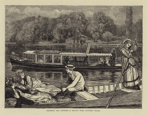 Steaming and Punting, a Sketch near Cliveden Woods. Illustration for The Graphic, 31 August 1872.
