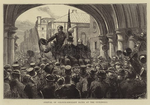 Arrival of Colour-Sergeant Bates at the Guildhall. Illustration for The Graphic, 7 December 1872.