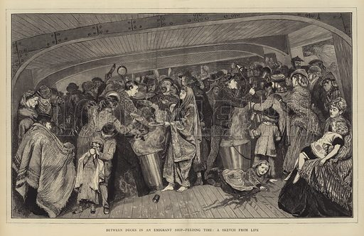 Between Decks in an Emigrant Ship, Feeding Time, a Sketch from Life. Illustration for The Graphic, 30 November 1872.