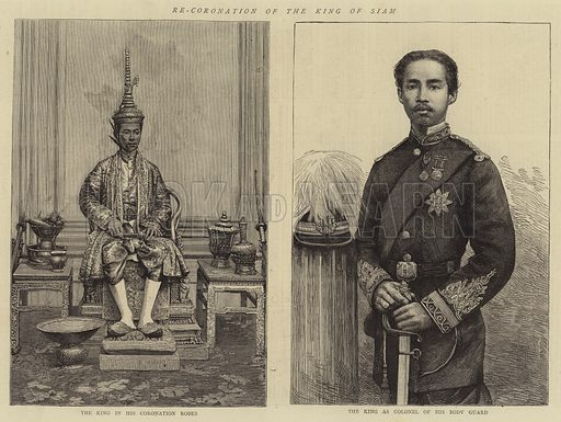 Re-Coronation of the King of Siam. Illustration for The Graphic, 17 January 1874.