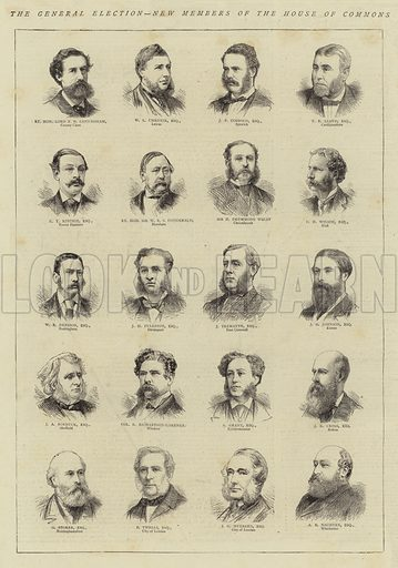 The General Election, New Members of the House of Commons. Illustration for The Graphic, 25 April 1874.