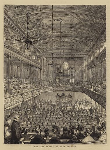 The City Temple, Holborn Viaduct. Illustration for The Graphic, 6 June 1874.