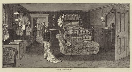 "The Wedding Trip of the Duke and Duchess of Connaught, on Board HM Yacht ""Osborne"", the Sleeping Saloon. Illustration for The Graphic, 5 April 1879."
