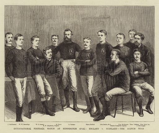 International Football Match at Kennington Oval, England v Scotland, the Scotch Team. Illustration for The Graphic, 12 April 1879.