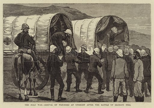 The Zulu War, Arrival of wounded at Utrecht after the Battle of Zlobane Hill. Illustration for The Graphic, 14 June 1879.