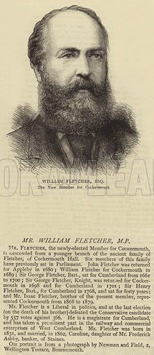 Mr William Fletcher, MP. Illustration for The Graphic, 14 June 1879.