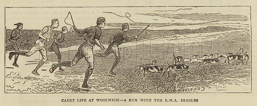 Cadet Life at Woolwich, a Run with the RMA Beagles. Illustration for The Graphic, 28 June 1879.