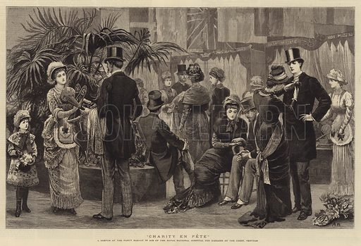 Charity en Fete, a Sketch at the Fancy Bazaar in Aid of the Royal National Hospital for Diseases of the Chest, Ventnor. Illustration for The Graphic, 28 June 1879.