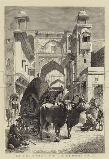 The Prince of Wales in India, a Rajpoot Bullock Carriage. Illustration for The Graphic, 11 March 1876.
