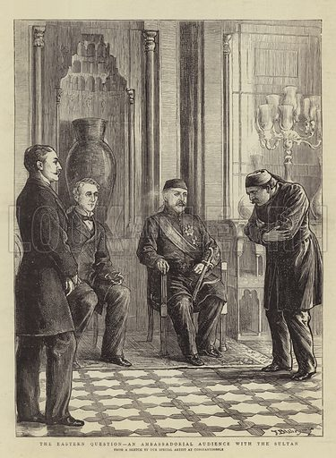 The Eastern Question, an Ambassadorial Audience with the Sultan. Illustration for The Graphic, 6 May 1876.
