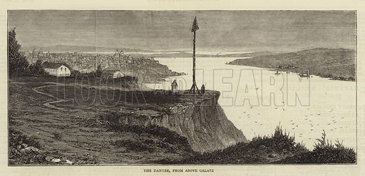 The Danube, from above Galatz. Illustration for The Graphic, 12 May 1877.