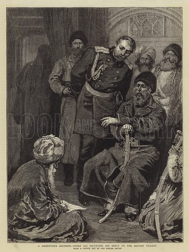 A Momentous Decision, Shere Ali dictating his Reply to the British Viceroy. Illustration for The Graphic, 16 November 1878.