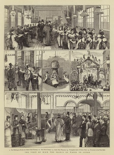 The Visit of HRH the Prince of Wales to Luton. Illustration for The Graphic, 14 December 1878.