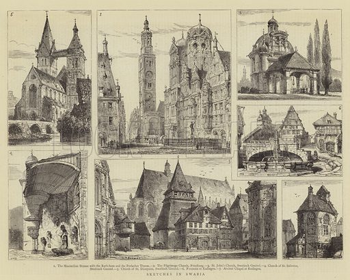 Sketches in Swabia. Illustration for The Graphic, 30 November 1878.