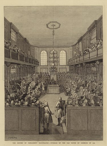 The Houses of Parliament Illustrated, Interior of the Old House of Commons in 1760. Illustration for The Graphic, 3 July 1880.