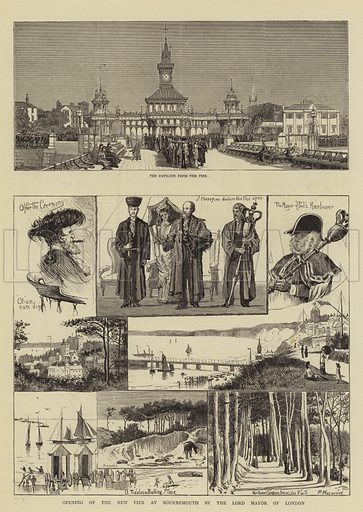 Opening of the New Pier at Bournemouth by the Lord Mayor of London. Illustration for The Graphic, 21 August 1880.