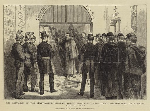 The Expulsion of the Unauthorised Religious Orders from France, the Police breaking open the Capuchin Convent, Paris. Illustration for The Graphic, 20 November 1880.
