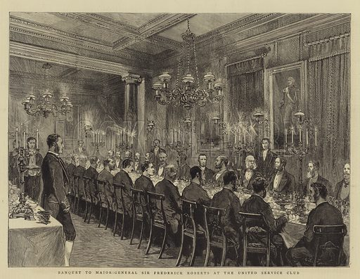 Banquet to Major-General Sir Frederick Roberts at the United Service Club. Illustration for The Graphic, 4 December 1880.