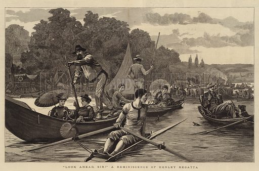 """""""Look Ahead, Sir!"""" A Reminiscence of Henley Regatta. Illustration for The Graphic, 31 July 1880."""