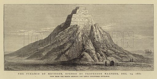 The Pyramid of Meydoon, opened by Professor Maspero, 13 December 1881. Illustration for The Graphic, 7 January 1882.