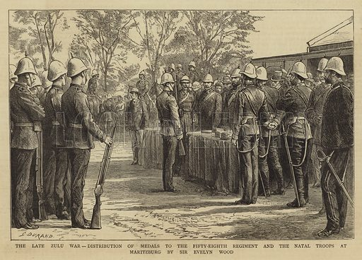 The Late Zulu War, Distribution of Medals to the Fifty-Eighth Regiment and the Natal Troops at Maritzburg by Sir Evelyn Wood. Illustration for The Graphic, 28 January 1882.