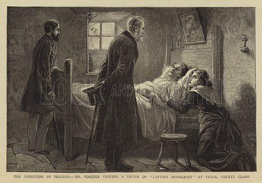 """The Condition of Ireland, Mr Forster visiting a Victim of """"Captain Moonlight"""" at Tulla, County Clare. Illustration for The Graphic, 18 March 1882."""